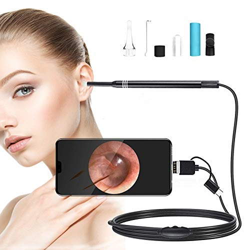 Upgraded Otoscope 3 in 1 Ear Canal Inspection Camera with Adjustable 6 Led, Visual Earwax Removal Cleaner Tools,with HD Waterproof,Ear Scope for Android and Windows & Mac (not Support iOS)