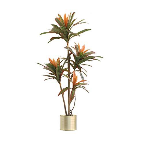 MYBA - Árbol artificial para plantas artificiales de hierro con borde rojo a gran escala, árboles falsos para salón, muebles para interiores, plantas artificiales (tamaño: 166 cm)