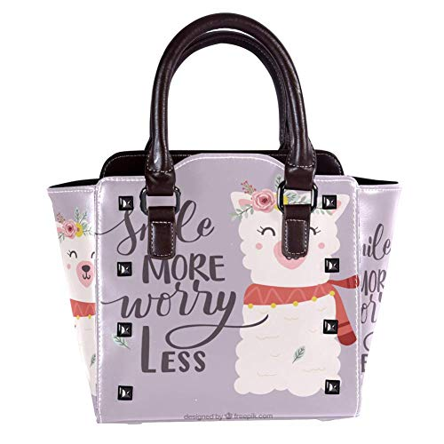 Cute Sheep With Flowers Women Handbag Soft PU Leather Fashion Rivet bag Handbag with Shoulder Strap Detachable Crossbody Bag