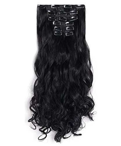 """OneDor 20"""" Curly Full Head Clip in on Synthetic Hair Extensions 7pcs 140g (1B-Off Black)"""