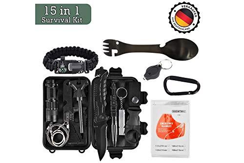 Military Survival Kit – Taktische Verteidigung der dritten Generation – 15 in 1-Notfallausrüstung – Tool Kit – Travel Camping Scout – Cooles Gadget für Outdoor, Abenteuer, Wandern, Angeln, Geburtstag