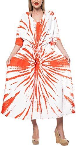 LA LEELA Donna Rayon Oversize Lungo Maxi Tie Dye Kimono Kaftan Tunica Abito Caftano Taglia Unica Vestito per Loungewear Vacanze Indumenti da Notte & Ogni Giorno Copertina su Top Bianco_B681