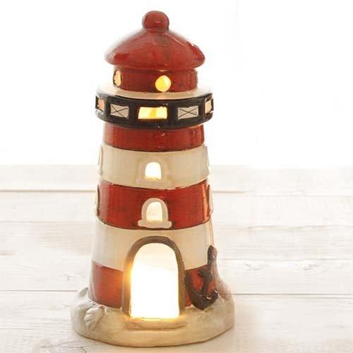 Tafeldeko.de Keramik Windlicht Leuchtturm in Weiß/Rot, 17,5 cm