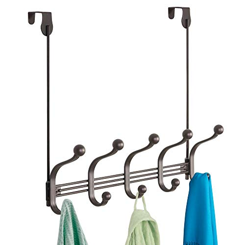 mDesign Decorative Long Easy Reach Over Door or Wall Mount 10 Hook Metal Storage Organizer Rack for Coats, Jackets, Hoodies, Hats, Scarves, Purses, Leashes, Bath Towels & Robes - Bronze