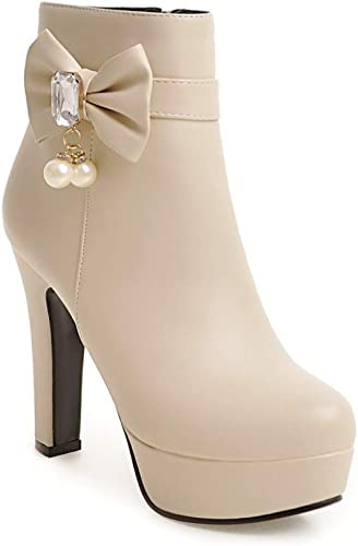 ZHRUI botas para mujer - botas de tacón Alto botas de tacón de Aguja Moda Color a Juego Salvaje plataforma Impermeable Martin botas 34-43 (Color   Buff, tamaño   43)