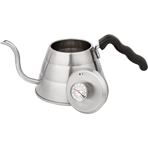 Brulux 1-Litre Stainless Steel Pour Over Coffee Kettle with Built In Thermometer and Gooseneck Spout