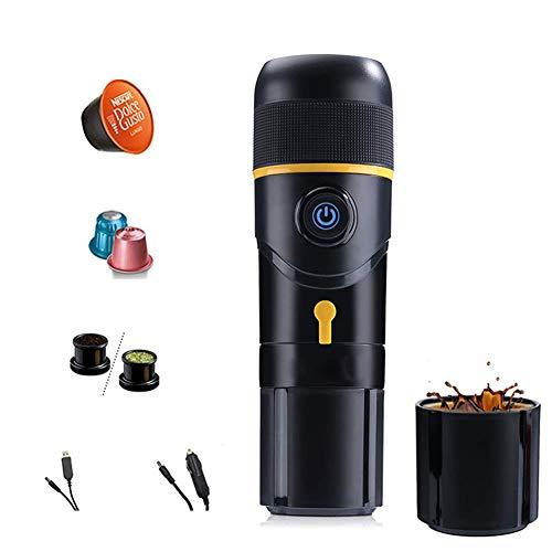 Machine à Expresso Portable, Machine à café Voyage manuellement Compatible avec Le café moulu et Nespresso Originale Capsules, Machine à café Portable pour Le Camping, Plein air,Jaune