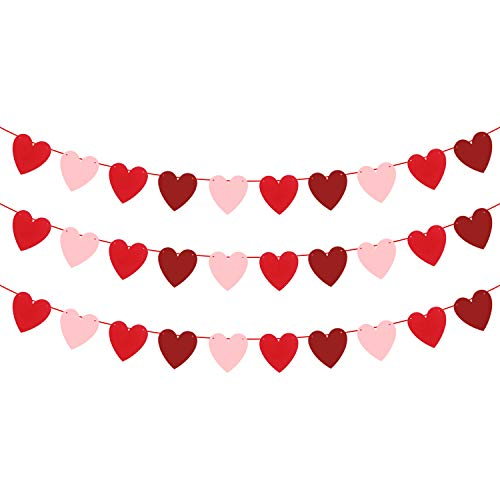 Felt Heart Banner for Valentines Decorations- Pack of 30,No DIY | Red, Rose and Light Pink Heart Garland | Valentines Day Decoration | Heart Garland Banner for Romantic Decorations Special Night Decor