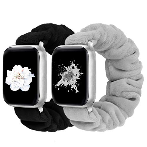 Greatfine Compatible with Apple Watch Band Scrunchie 38mm 40mm 42mm 44mm for Women,Stretchy for iwatch Bands,Short Plush Fabric Bracelet for Apple Watch Band Series SE 6 5 4 3 2 1(2PC,42/44-M)