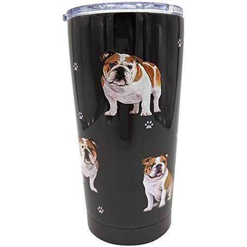 Bulldog PetBella Insulated Tumbler 16 oz Stainless Steel Vacuum Insulated Double Wall Travel Thermos Tumbler Dog Breed Design Lifetime Thermos Mug with Splash Proof Lid