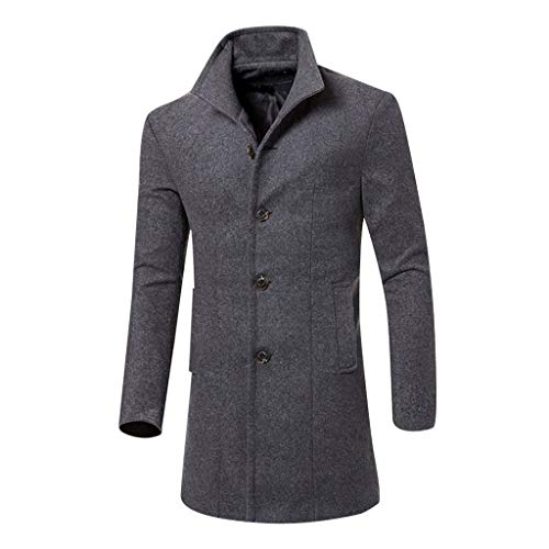 Yowablo Herren Winter Slim Fit Wollmantel Business Überzieher Schlank Lange Windbreaker Jacken Wintermantel Herren Slim Fit Lang Business Schwarz Warm Wolle Winter Mantel (XL,Grau)