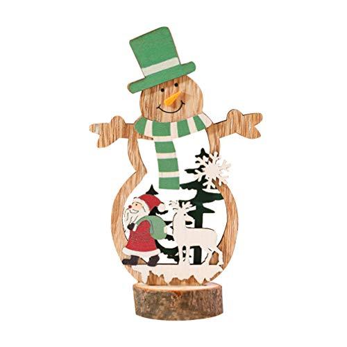LIOOBO 1 pc Weihnachten Holz Ornament Weihnachtsmann Weihnachtsbaum Hut Desktop Ausschnitte Figur Sammlung Puppe für Weihnachtsfeier Bankett Weihnachtsfeier