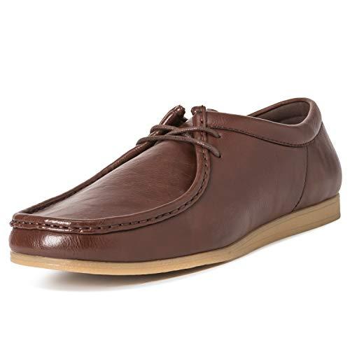 Hombres Queensberry Oscar Wallaby Smart Oficina Desierto Trabajo Loafer Chukka Formal Zapatos - Marrón - EU42/ UK8 - QB0003