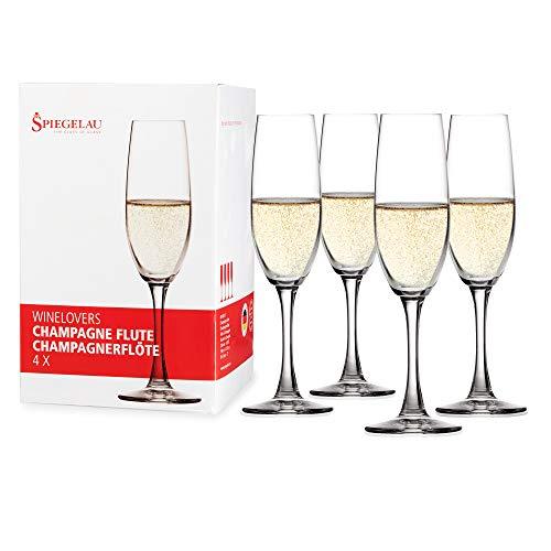 Spiegelau & Nachtmann, 4-teiliges Champagnerflöten-Set, Kristallglas, 190 ml, Winelovers, 4090187
