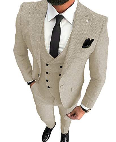 MoranX Herren Anzüge Slim Fit 3 Teilig Wolle Tweed Smoking Hochzeit Anzug Bräutigam Jacke Weste Hose Business(Champagner,Personalisieren)