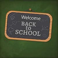 Qinunipoto 背景 写真撮影の背景 黒板の緑の背景 新学期テーマパーティーバナー装飾背景布 Welcome Back to School Supplies クラス集会 背景布 写真撮影用 装飾背景布 ビニール 2.5m x 2.5m