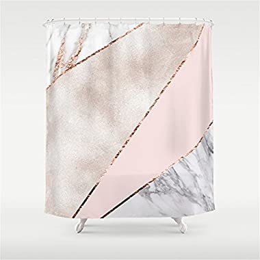 Weeya Spliced mixed rose gold marble Shower Curtain 60x72 inch
