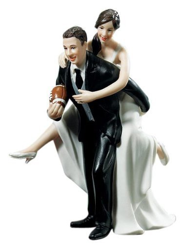 Weddingstar Playful Football Piggy Back Bride and Groom Figurine Cake Topper Light Skin - Customizable
