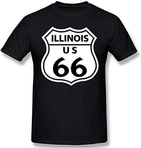 Route 66 - Illinois T-shirt met korte mouwen voor heren katoen