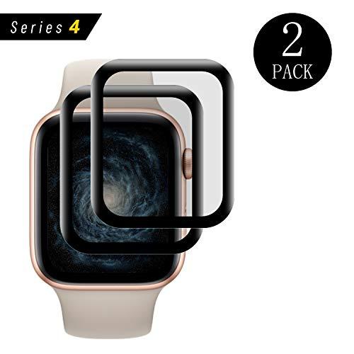 AaiMaKE - Protector de pantalla para Apple Watch Serie 4, 44 mm, 2 unidades, 3D Full Cover iWatch Serie 4, 44 mm, cristal templado