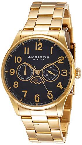 Akribos XXIV da uomo Swiss-Orologio al quarzo, con Display, colore: oro