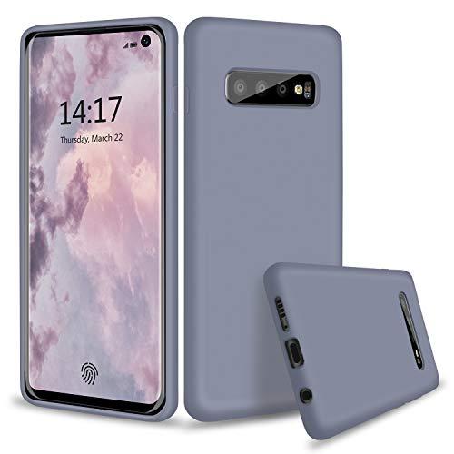 abitku Galaxy S10 Case, Slim Liquid Silicone Gel Rubber Shockproof Case Soft Microfiber Cloth Lining Cushion Compatible with Samsung Galaxy S10 6.1 inch 2019 (Lavender Gray)