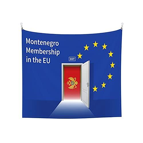 Wandteppich mit Montenegro-Flagge, Wandbehang, Tarot, Boho, beliebt, mystisch, Trippy, Yoga, Hippie, Wandteppiche für Wohnzimmer, Schlafzimmer, Schlafsaal, Heimdekoration, schwarz & weiß Stranddecke