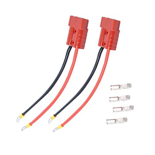 #N/a 2 Terminales Enchufables de Conector Rápido de Batería de 50 Amperios con Wrie Rojo de 25 Cm