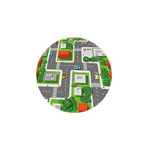 TZUTOGETHER Teppich, Spiel-Teppich Für Kinderzimmer Straßen-Design Mit Tieren Beige, Grösse:50x40 cm-B