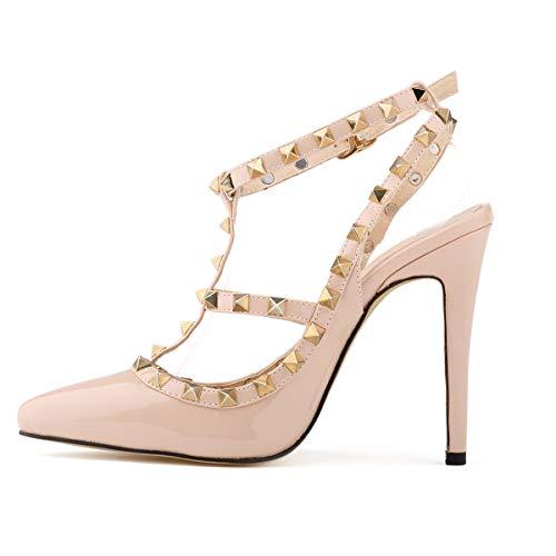 MKHDD Damen Spitzschuh Nieten High Heel Leder Slingback Pumps Stilettos Sandalen Kätzchen Fersenkleid Sandal Abendkleid Lässig,Pink,38