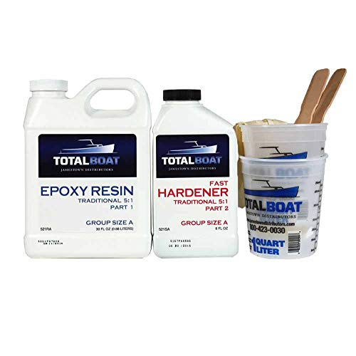 TotalBoat 5:1 Epoxy Resin Kit (Gallon, Fast Hardener), Marine Grade Epoxy for Fiberglass and Wood Boat Building and Repair (365247)