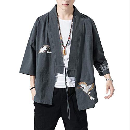 FTFDTMY Kimono de los hombres bordado de lino Abrir frente Chaquetas 3/4 manga suelta y delgada para hombre capa abrigo, gris, L