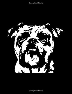 """Bulldog Notebook: Black & White Pop Art Dog Face 150 Page 8.5 x 11"""" Lined Journal Book for Bulldog Lovers and Owners"""