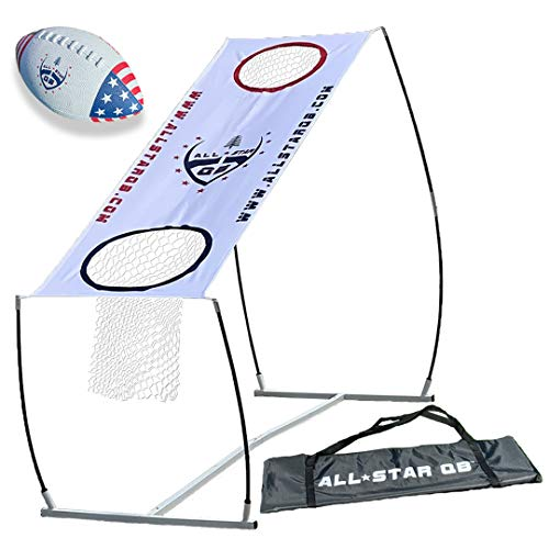 All Star QB LITE Football Throwing Net Game Set, Training & Practice Equipment -Easy Setup & Gameplay Ideal for Kids & Adults. Improves QB Throwing Accuracy. Perfect for Any Outdoor Games & The Beach