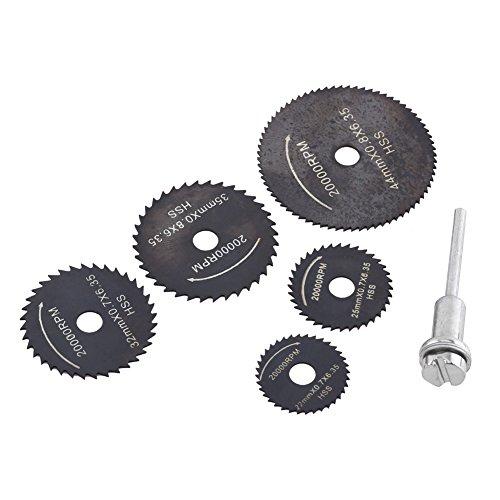 Yunnyp Plastic Dunne Zwarte Zaag Blade,1 Set HSS Circulaire Zaagbladen Snijschijf Vermogen Gereedschappen voor Hout Kunststof 22-44mm, black, Zwart, 1
