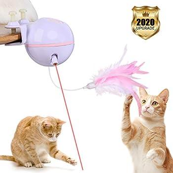 YOUTHINK Pet Cat Électrique Drôle Jouet Interactif Chat Plume Jouet avec Plume Cloche de Remplacement