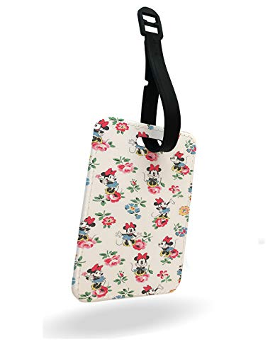 Classic Minnie Mouse Roses Violets Luggage Tag and Strap with Rear Part Printed