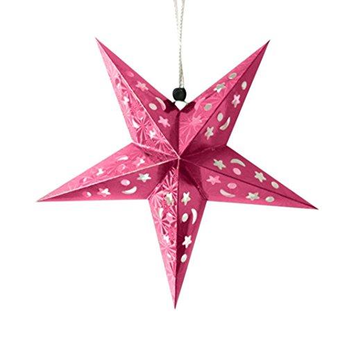 Décorations de Noël,Fulltime®1PC Romantique Noël corde accrocher charme étoile fête décoration sapin ornement (Rose chaud)