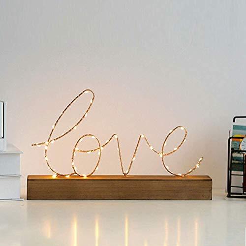 Nachtlampje, decoratie, led, hout, paviljoen, letters, verlichting voor muur, decoratie, werkt op batterijen voor huis, café, bar, winkel, decoratie