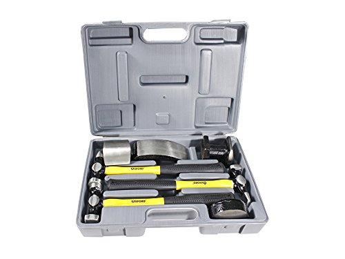 Vetrineinrete® Kit da carrozziere 7 pz Composto da 3 martelli con Manici sagomati in Fibra più 4 Tassi in Valigetta per riparazioni della carrozzeria Auto Fai da Te P4