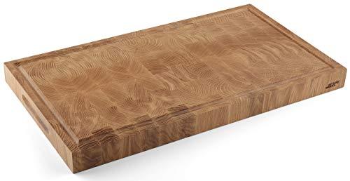 Simply Wood Premium Schneidebrett Hackblock Servierbrett Saftrinne Holzbrett Rechteckig Langjährige Hochwertig Speisen Servieren Geschenk (54 x 30 x 4 cm, Eichenholz)