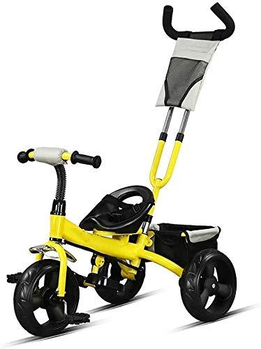 WLD kinderfiets, kinderen 'S driewieler 1-3-6 jaar oud kinderwagen kinderen fiets kinder' S driewieler draagbare push and ride draagbare zitting met opbergmand verjaardagscadeau geel