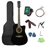 Sopran-Ukulele-Starter-Kit41 Zoll Cutaway Bright Holzgitarre Akustikgitarrenset Poliertuch (Size:41...