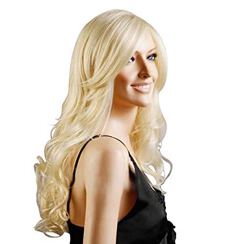 Discoball Perruque blonde pour femme - Cheveux longs bouclés pour Cosplay Party perruques