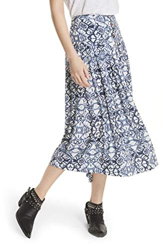 Blue Buttoned Printed Rayon Midi A-Line Casual Skirt Size: 2 100% Guaranteed Authentic - New With Original Tags