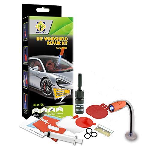 Twbbt Kit de réparation de pare-brise de voiture en résine - Outils de réparation de verre fissuré - Kit de réparation de fissures.