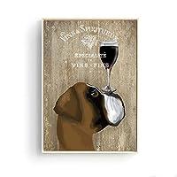 リビングルームの装飾のためのワイン犬の壁の写真壁のアートポスターとプリントをぶら下げキュラドール装飾動物キャンバスアート50x70CMフレームなしの赤
