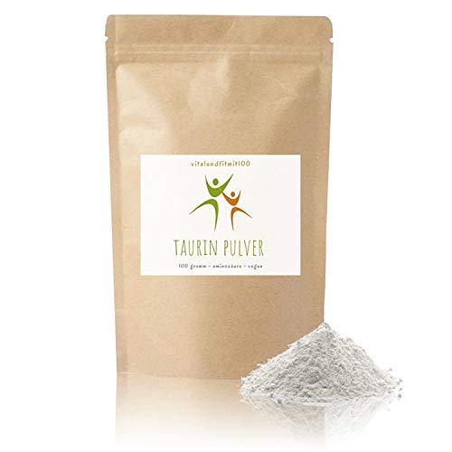 Taurin Pulver - 100 g - nicht essenzielle Aminosäure - in geprüfter Qualität - produktionsfrische Ware - 100{8d3ed98d32f5ea04dd5ae04351372368918dc22be81be8d402aa2a900459b2c9} vegan und rein - fein gemahlen - glutenfrei - OHNE Hilfs- u. Zusatzstoffe