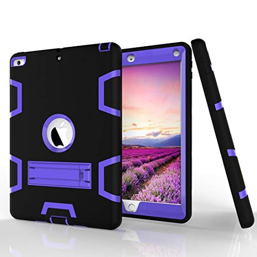 JIAHENG Tablet Case Shockproof Heavy-Duty Rubber High-Strength Sturdy and Durable Hybrid Three-Layer Full Body Protective Case for iPad 5/AIR Built-in Shockproof Support PU Leather Cover Shell