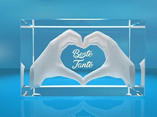 VIP-LASER 3D Glas Kristall mit Gravur I Herz aus zwei Händen I Text: Beste Tante! I Das tolle Geschenk zum Muttertag, Geburtstag oder Weihnachten